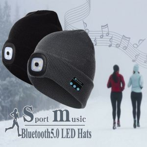 Winter Beanie Hat Wireless Bluetooth V5.0 Smart Cap Headphone Headset With 4 LED Light Handfree Music Headphone New