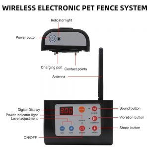 2 in 1 Wireless Electric Pet Dog Fence 4 Working Modes Dog Training Collars Waterproof Rechargeable Pet Electric Collar