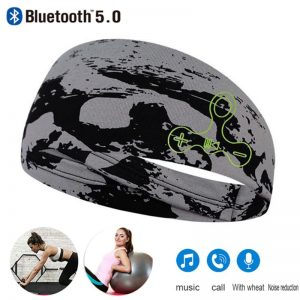 Washable Sleep/Sport Headband Headset Wireless Bluetooth 5.0 Headwear Headphone Running Earphone Sleeping Headband with Mic