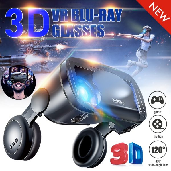 VR Glasses Smart Headset Heart Diffraction Glasses Box For VRG PRO Mobile Phone Dedicated 3D Games Adjustable Blue Light white