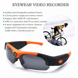 HD Smart 1080P 16GB/32GB Camera Smart Glasses Black/Orange Polarized Lens Sunglasses Camera Action DVR Sport Video Camera Glasse