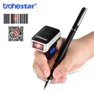 Trohestar Wireless Finger Scanner 2D Portable QR Code Ring Barcode Scanner Wearable Mini Bar Code Reader Bluetooth Scanners